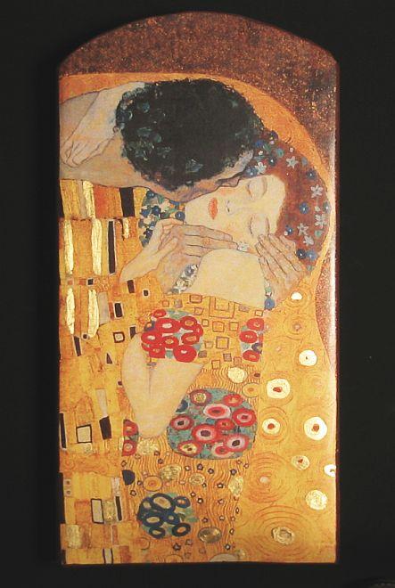 gustav klimt der kuss von 1907 mit echtgold unikat 7 auf 100 j altem ziegel ebay. Black Bedroom Furniture Sets. Home Design Ideas