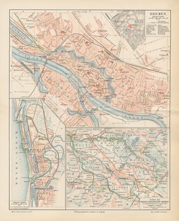 bremen bundesland stadt lage und bauwerke handel landkarte original karte 1892 ebay. Black Bedroom Furniture Sets. Home Design Ideas