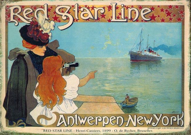 Red-Star-Line-Plakat-Jugendstil-Faksimile-auf-Buettenpapier-11-Antwerpen-New-York