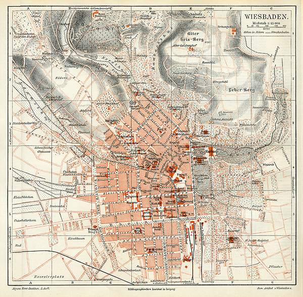 Wiesbaden Karte.Wiesbaden Hessen Kurpark Original Karte Von 1892 Billerantik
