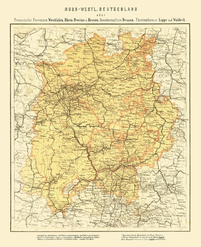 Nord Westliches Deutschland Karte Von1865 Faksimile 24 Westfalen
