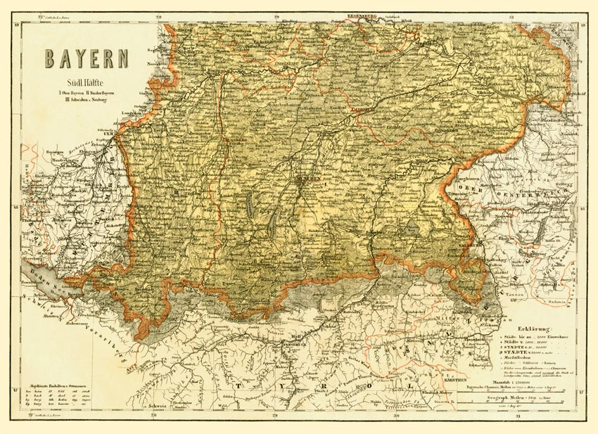 Schwaben Karte.Bayern Süden Schwaben Karte 40x56 Cm Faksimile 1865 9 Billerantik