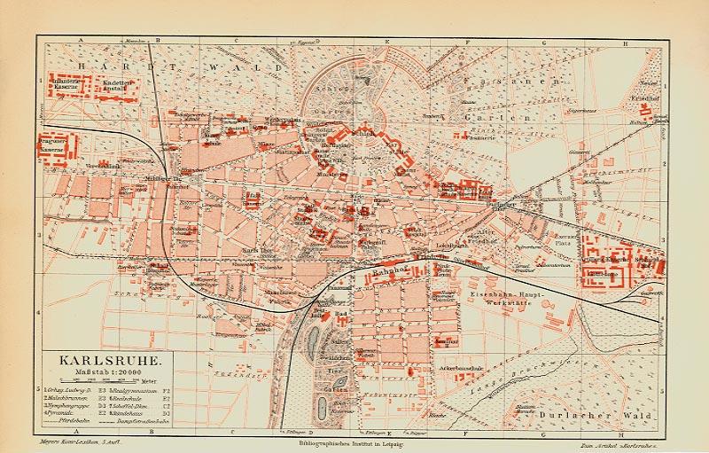 Karte Karlsruhe.Karlsruhe Baden Ansicht Karte Originale über 100 Jahre Billerantik