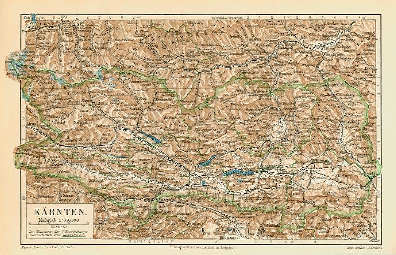 Kärnten Österreich Bundesland Karte Originale K&K ...