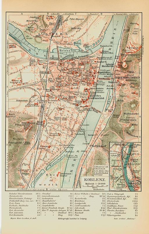 Karte Koblenz.Koblenz Karte Baden Wü Stadt Rheinland Originale 100 J Billerantik
