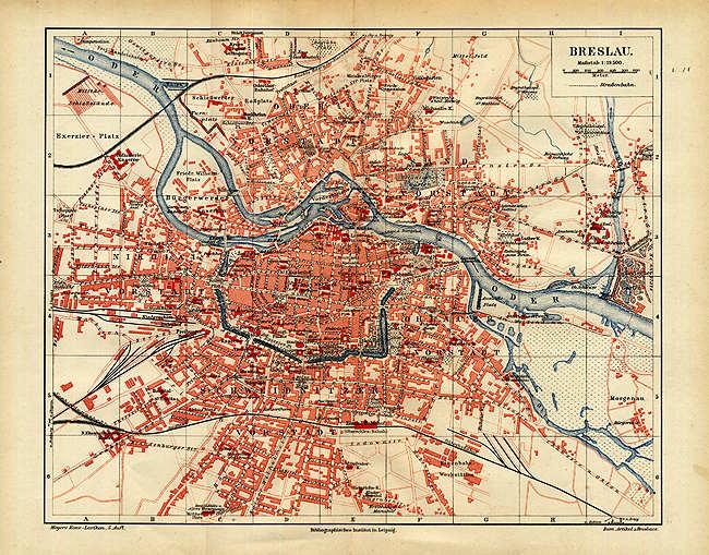 breslau karte Breslau originale Karte 16x25cm von1894 Posen Straßenregister