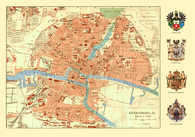 Karte Ostpreußen.Königsberg Ostpreussen Karte Wappen Preussen Büttenf 20 Billerantik