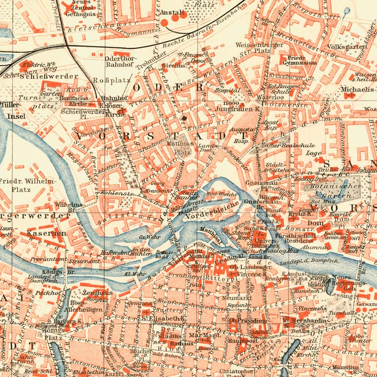 Breslau Karte 1930.Details Zu Breslau Schlesien Karte Register Wappen Preussen Faksimile 12 Im Goldrahmen