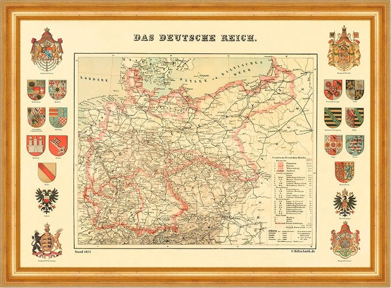 Deutsches Reich Karte 1943.Details Zu Das Deutsche Reich Karte Von 1872 20 Wappen Buttenfaksimile 16 A3 Goldrahmen