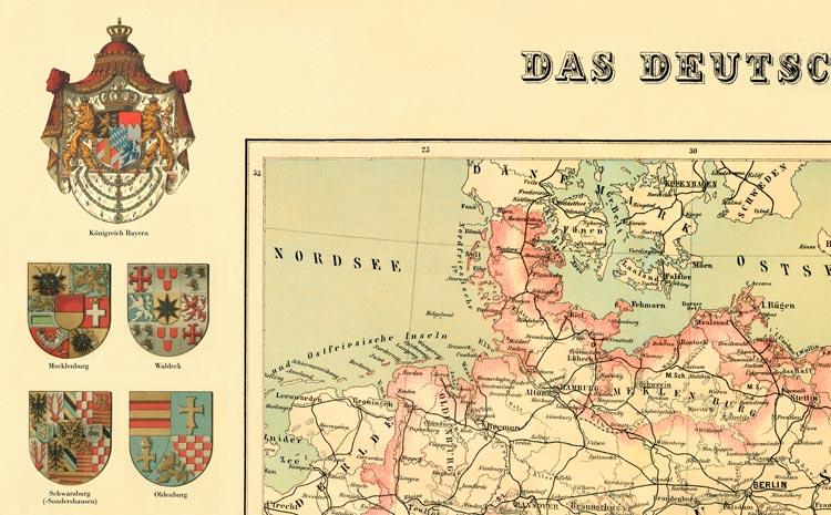Deutsches Reich Karte 1943.Details Zu Das Deutsche Reich Karte Von 1872 20 Wappen Faksimile 16 A2 Auf Buttenpapier