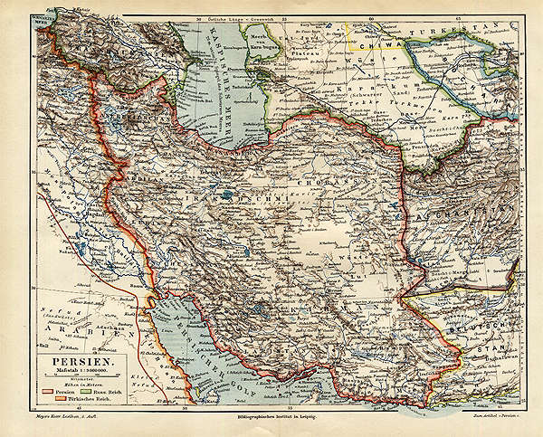 Persien Karte.Persien Original Karte Irak Afghanistan Arabien Golf Billerantik
