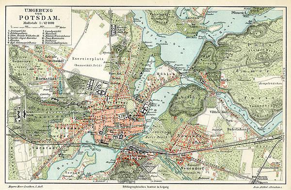 Historische Karte Potsdam.Details Zu Potsdam Karte Havel Brandenburg Wappen Original Karte 24x15cm Von1892 Text