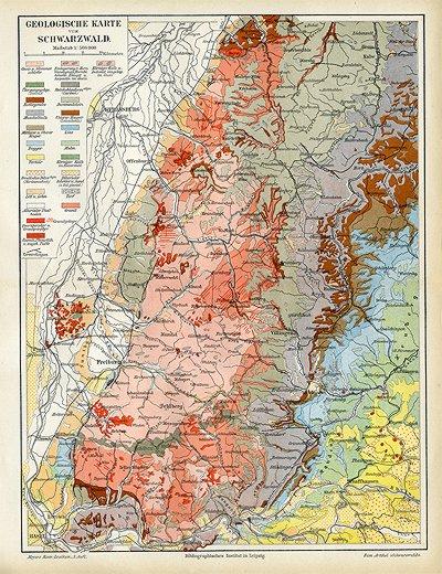 geologische karte baden württemberg Schwarzwald Geologische Karte Baden Torf Karte von 1892 Format  geologische karte baden württemberg